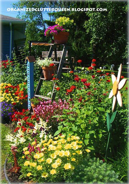 Using Red Blossoms in Garden & Pots www.organizedclutterqueen.blogspot.com