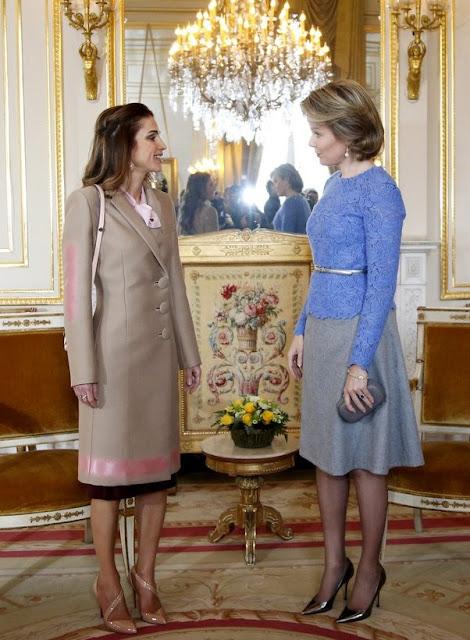 Queen Mathilde of Belgium welcomes Jordan's Queen Rania before a meeting in Brussels