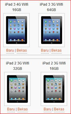 Harga Tablet PC Apple Baru dan Bekas