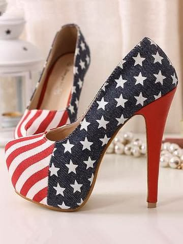 AMERICAN FLAG ROUND TOE HIGH HEEL SHOES