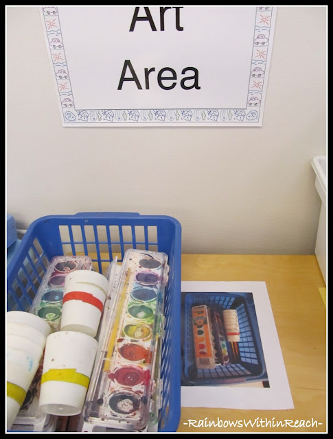 photo of: Art Center in Early Childhood with Shelves Labeled Visually to Foster Independence