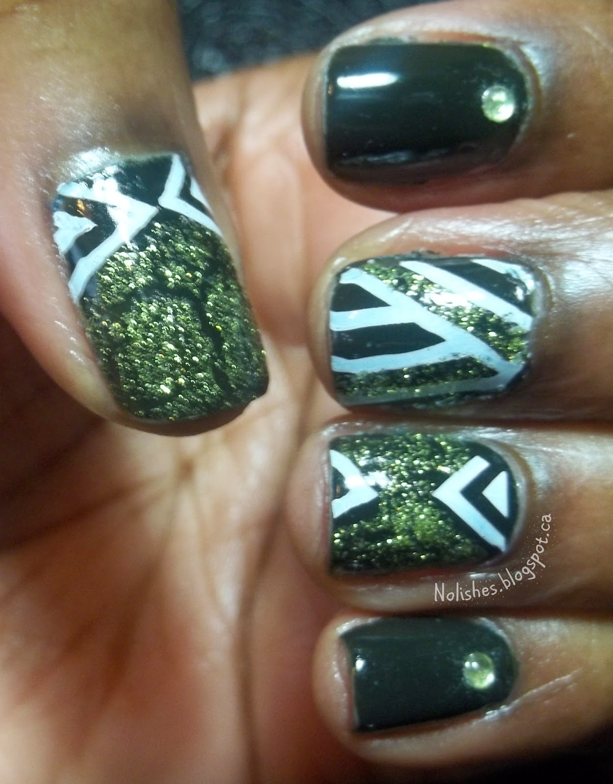 Nolishes: Crackle Polish Challenge #4: Dark Green and White ...