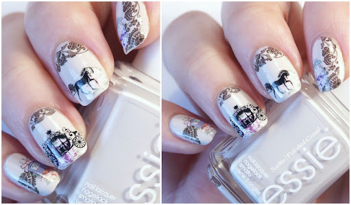 Romatic Princess Nails with sweet Water Decals