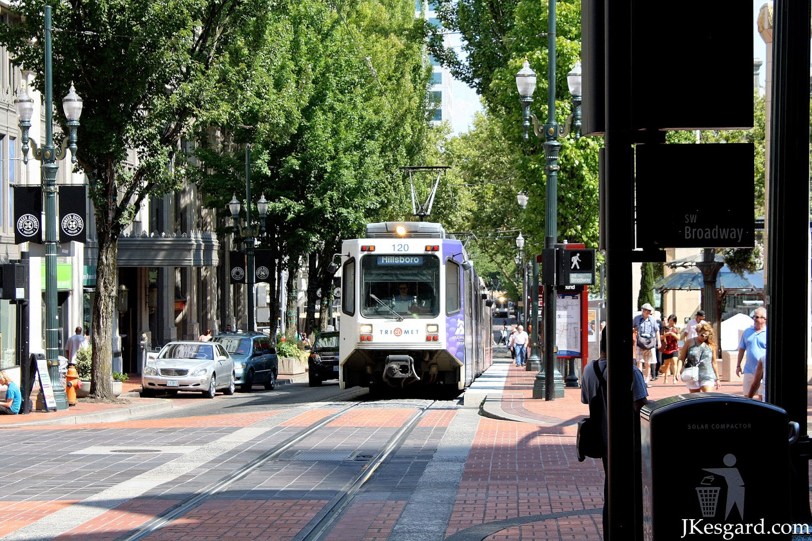 Train in downtown Portland Pioneer Courthouse Square