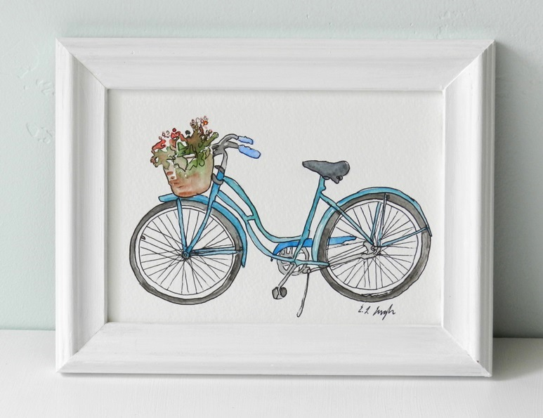 Elise engh studios little blue bike for Bicycle painting near me