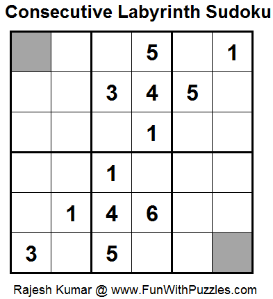 Consecutive Labyrinth Sudoku (Daily Sudoku League #100) (Mini Sudoku Series #35)