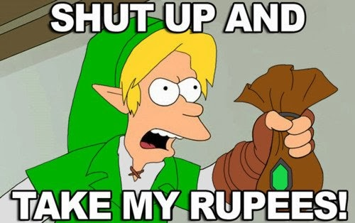 shut up and take my rupees, futurama, phillip fry as link