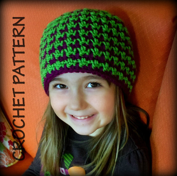 Free Crochet Pattern Houndstooth Hat : Crochet For Free: Reversible Houndstooth Crochet Beanie ...