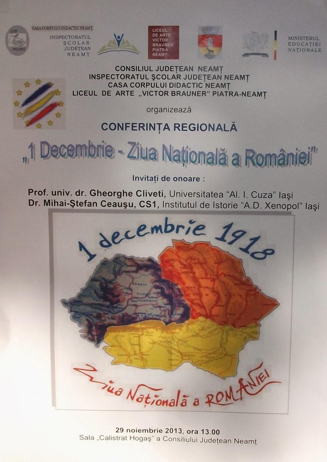 Afişul oficial al conferinţei regionale...