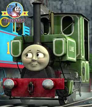Little Luke the train engine tinted color pea green white decorative lines also graphic logo name