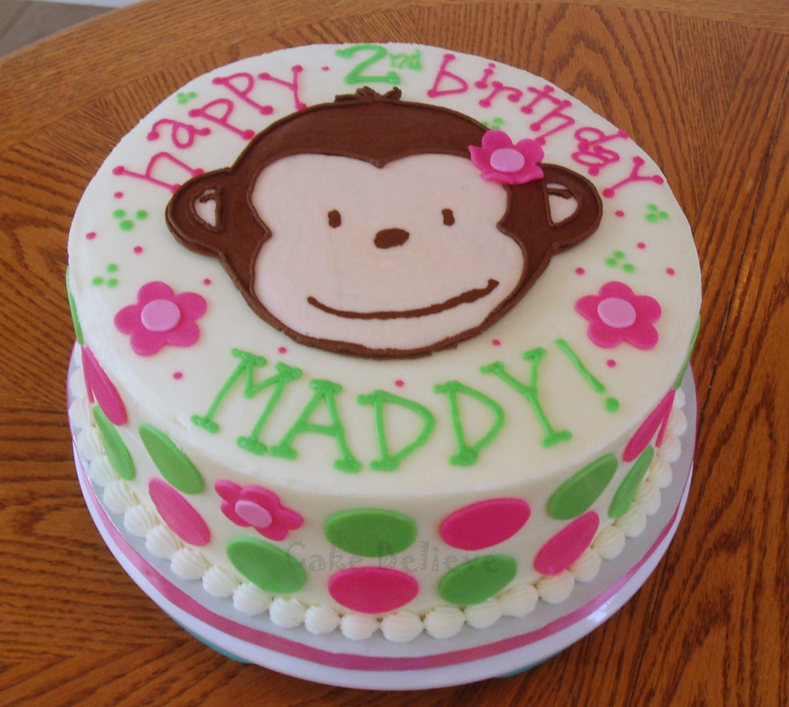 Cake is iced in buttercream with a FBCT monkey face and fondant ...