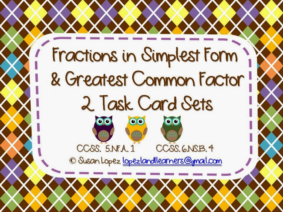 https://www.teacherspayteachers.com/Product/Fractions-in-Simplest-Form-Greatest-Common-Factor-Task-Cards-1108006