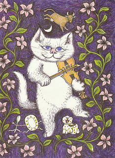 cat and a fiddle, derived from Bastet image with her sistrum