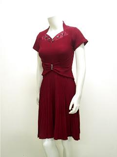 Ladies Fashion Party Dress Spandek Anita LC 3580 Maroon