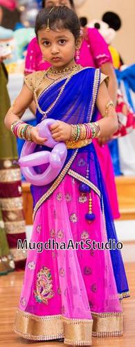 Small Baby in Pink Half Saree