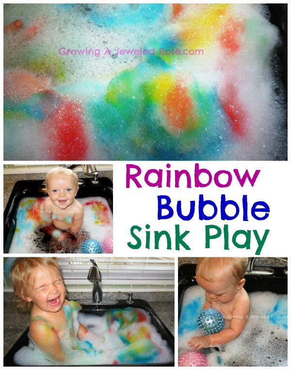 rainbow bubbles sensory play