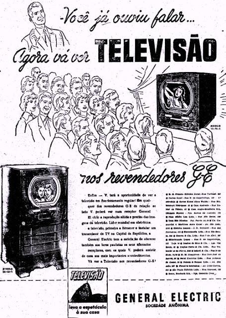 Propaganda do lançamento do aparelho de televisão no Brasil em 1950