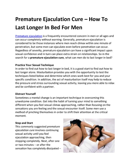 Fix Premature Ejaculation Newest Longer Bed