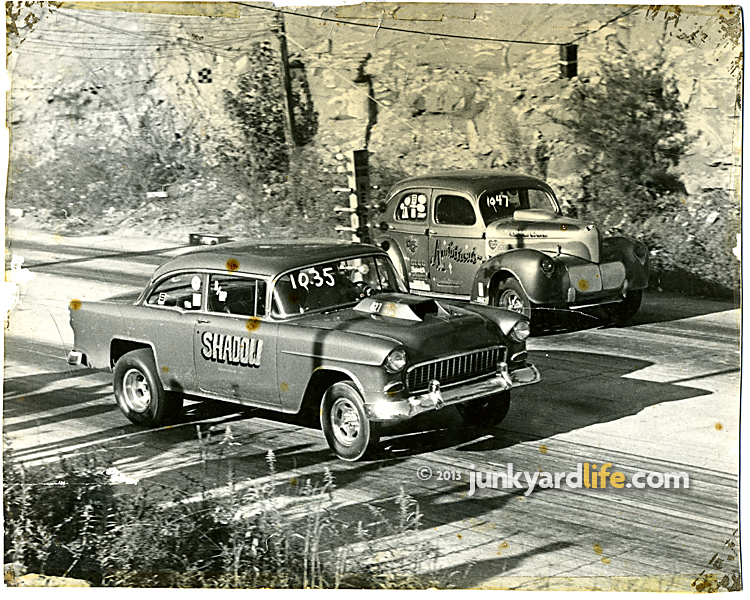 1955 Chevy Shadow Drag Races During Muscle Car Era Vintage Pics