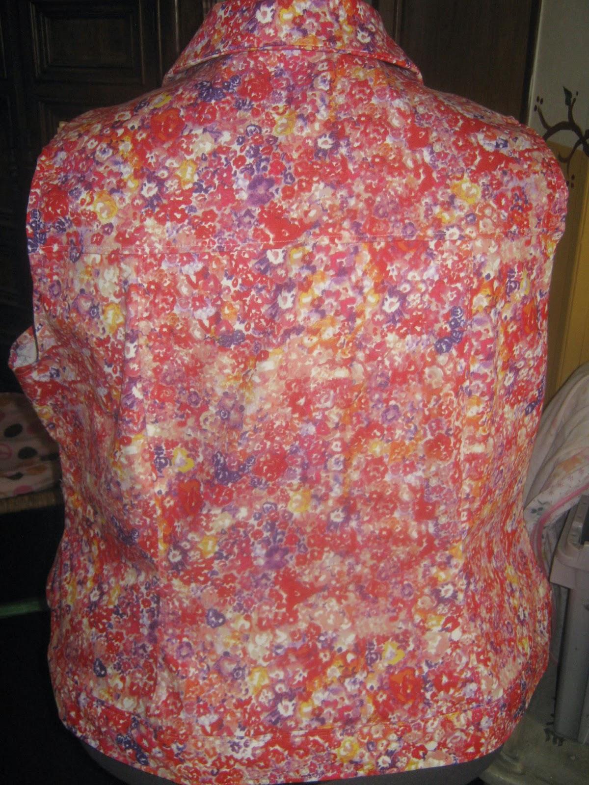Butterick 5616 Spring Floral Denim Vest www.sewplus.blogspot.com