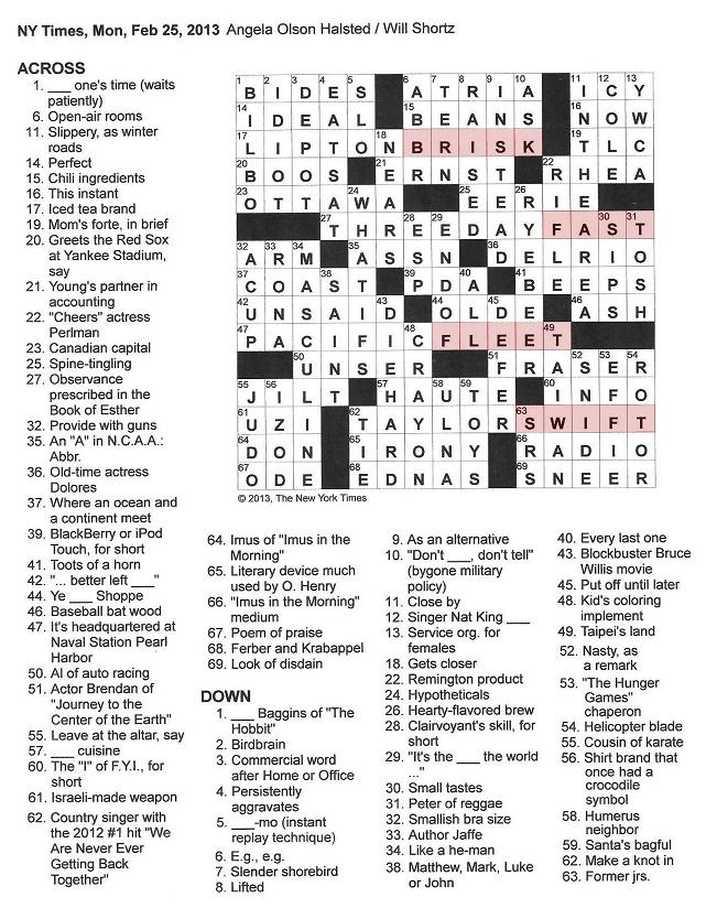 25 New Quickly Crossword Clue