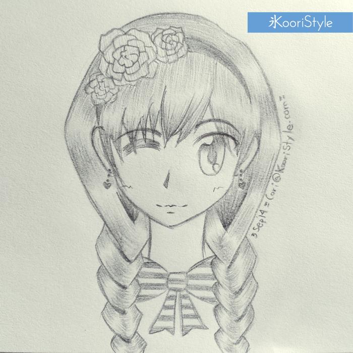 Koori Style KooriStyle Drawing Doodle Skecth Anime Ribbon Kawaii Roses Braids