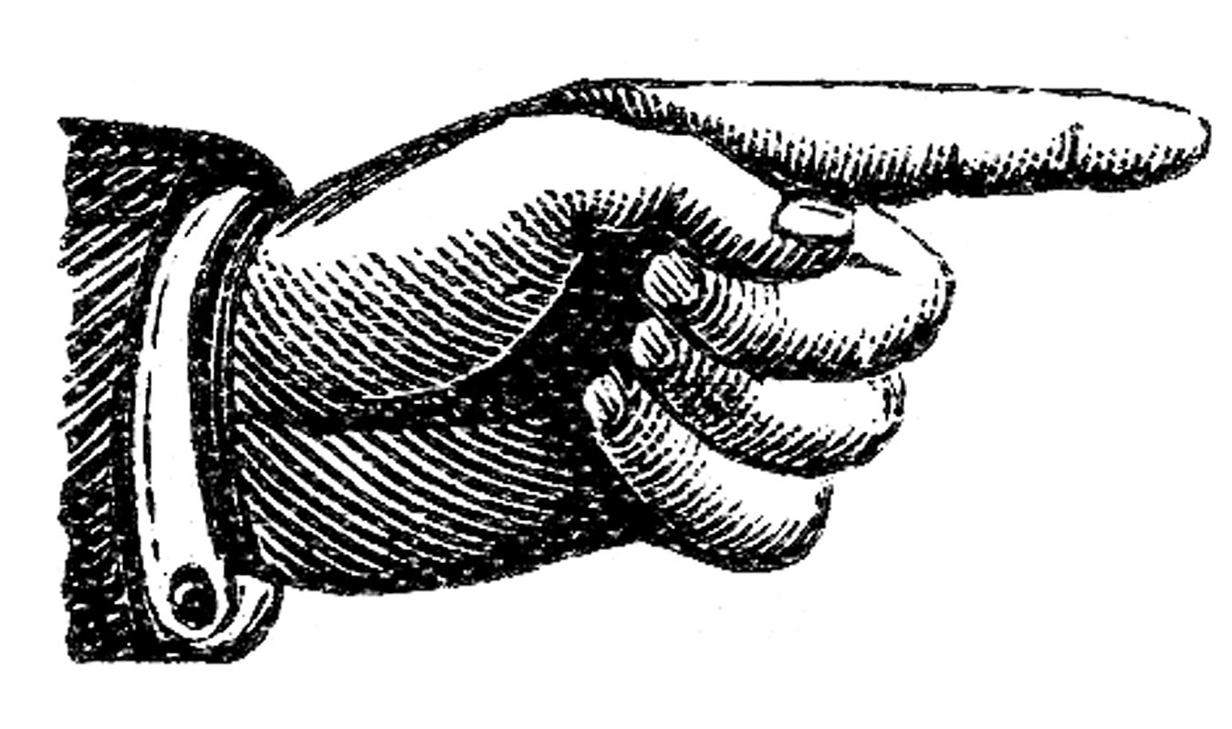 Victorian Pointing Hand Clip Art