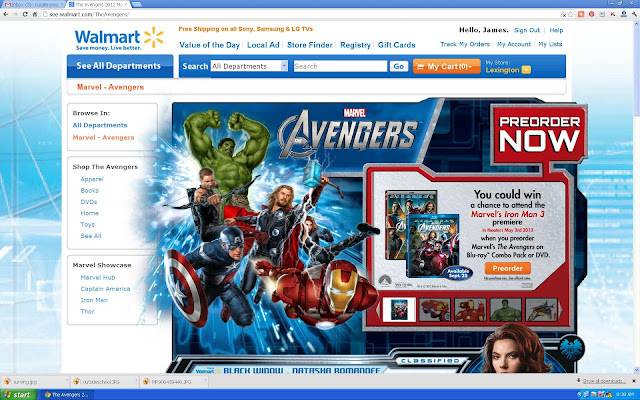 Screen shot of Walmart Avengers website