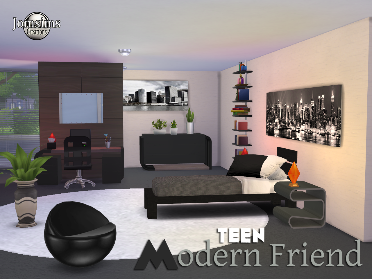 My sims 4 blog modern friend teen bedroom set by jomsims for Bedroom designs sims 4