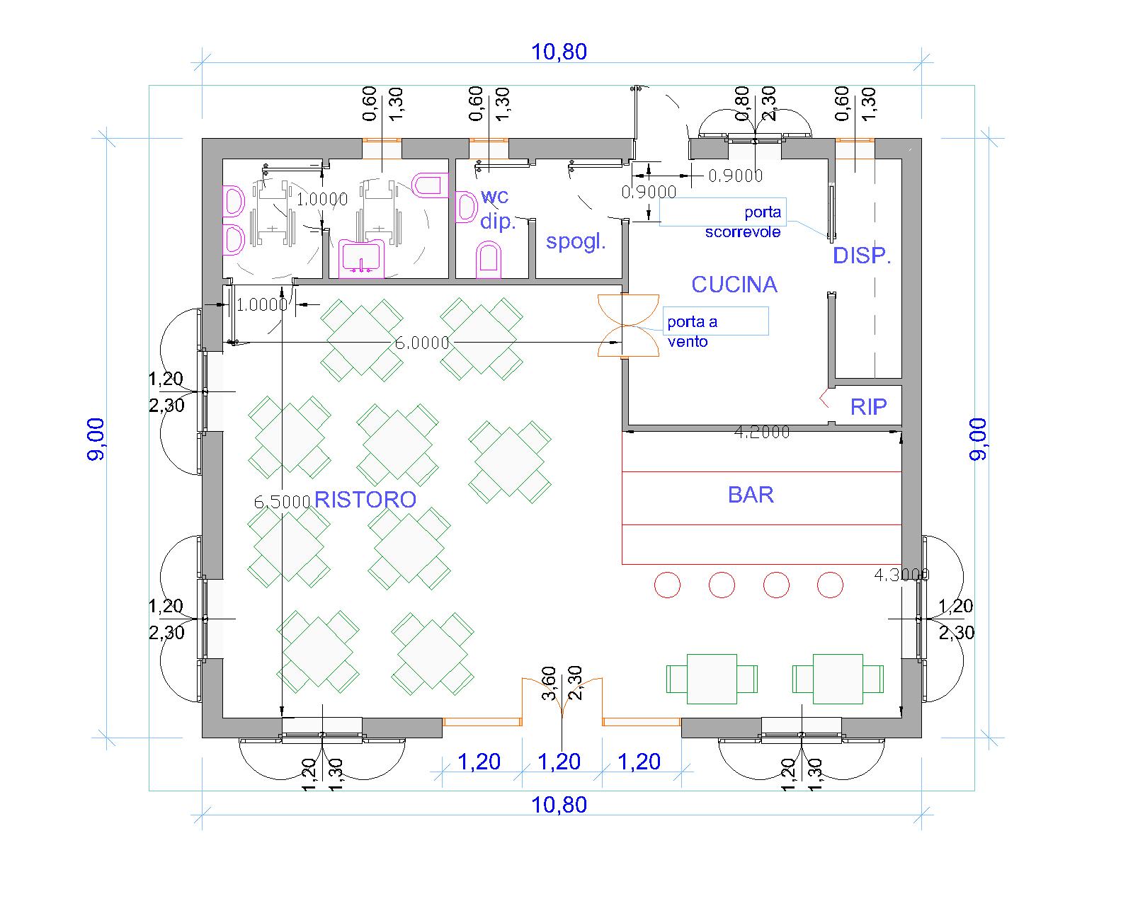 Progetti di case in legno ristorante 97 mq for Progetti di cortili per case