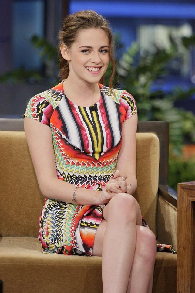 Kristen Stewart Sports An Unusual Colourful Mini Dress On