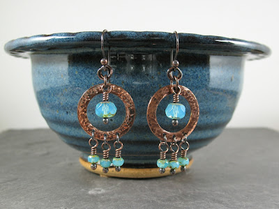 Roma-inspired Gypsy hammered copper & Czech glass chandelier earrings