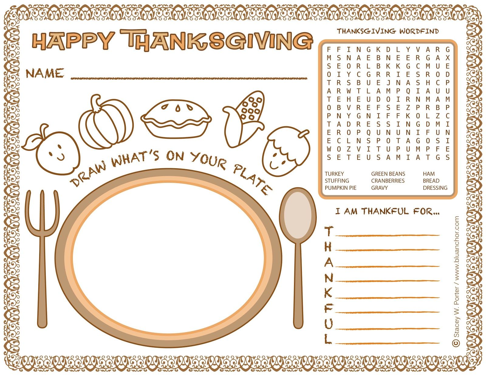 Blu Anchor: Free Thanksgiving Kids Activity place mat/activity sheet ...