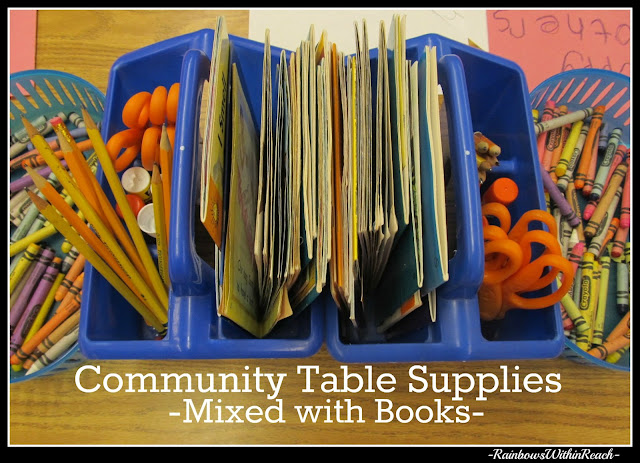 photo of: Classroom Community Supplies organized on Kindergarten Table Top (includes books within materials)