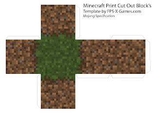 Minecraft grass dirt block template cut out papercraft