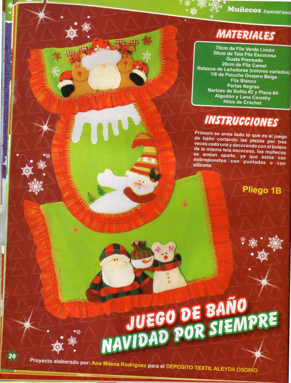 Juegos Baño Navidad Fieltro: Manualidades para Navidad: Juego de baño para Navidad con patrones