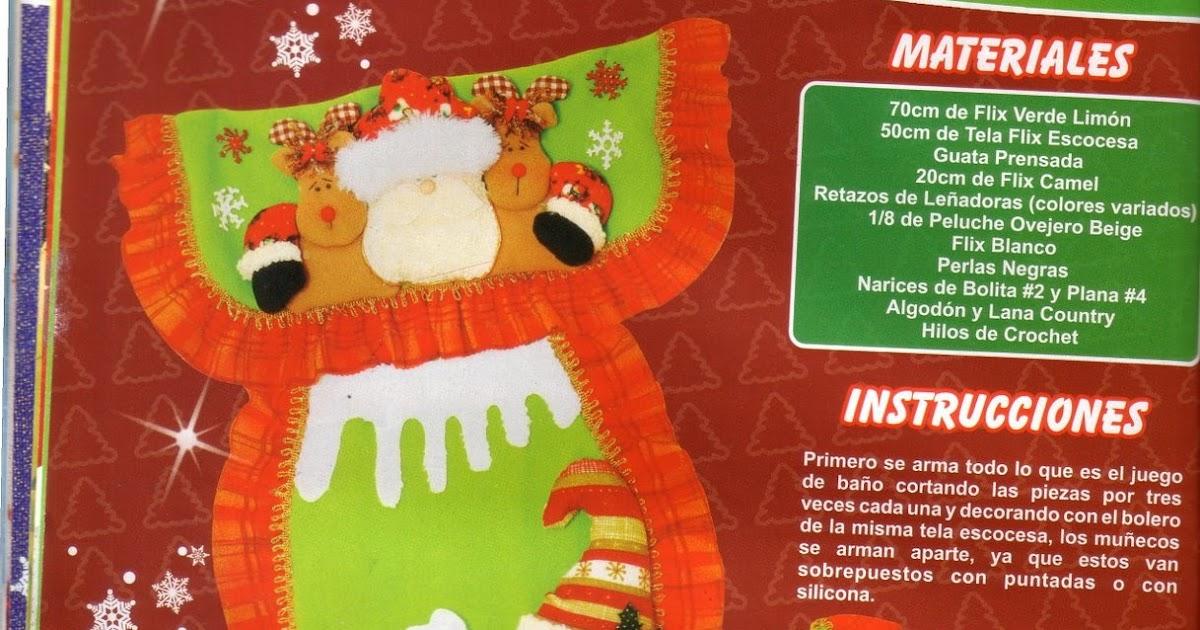 Juego De Baño Navideno Paso A Paso: Manualidades para Navidad: Juego de baño para Navidad con patrones
