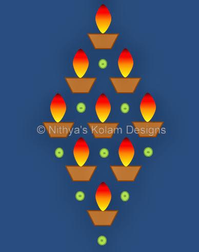 Kolam 95: Easy Diwali Kolam
