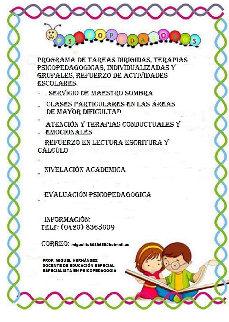 EVALUACION PSICOPEDAGOGICA Y REFUERZO ESCOLAR