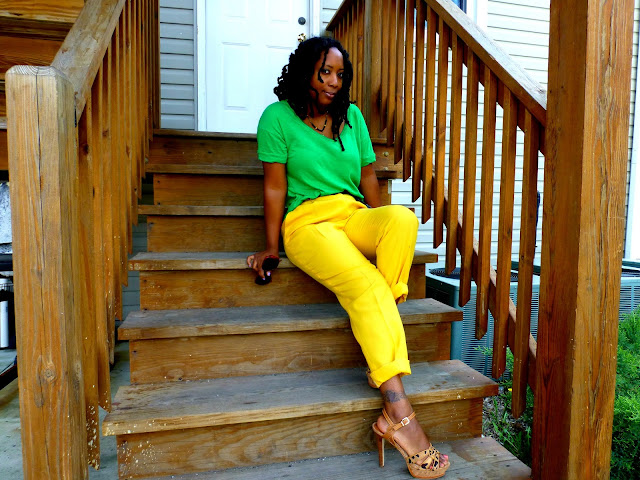 thrifted yellow pants green tee