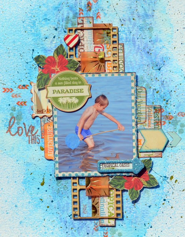 Mixed Media Layout by Denise van Deventer using the BoBunny Beach Therapy Collection and Under the Sea Stickable Stencil