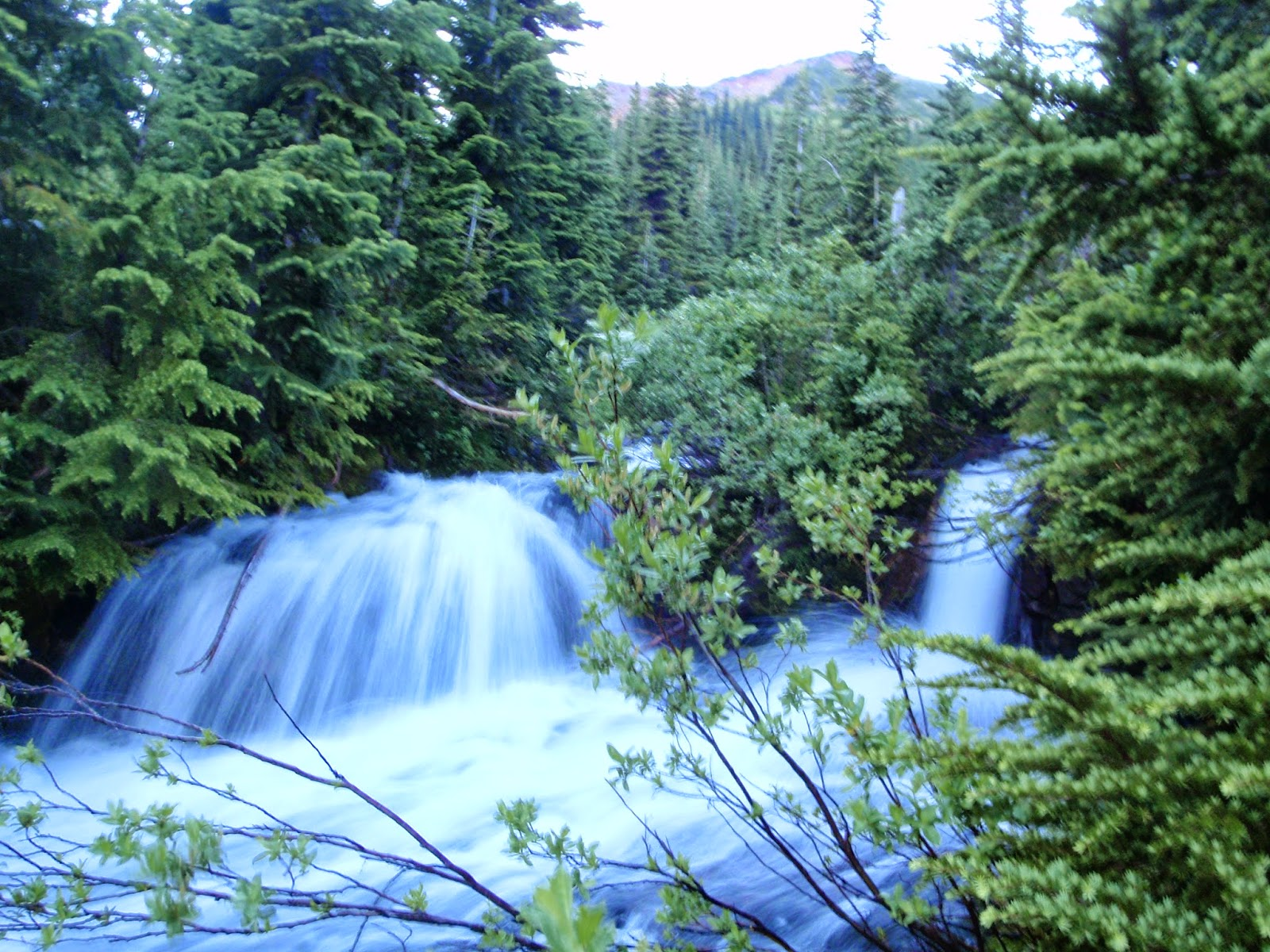 Falls and crossing area at 5 pm @ Glacier Peak Wilderness Image Lake Trail