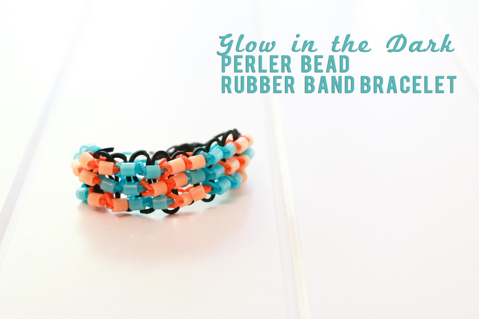 Glow in the Dark Perler Bead Rubber Band Bracelet @createoften @craftsavvy #craftwarehouse #loombands #rubberbandbracelets #perler