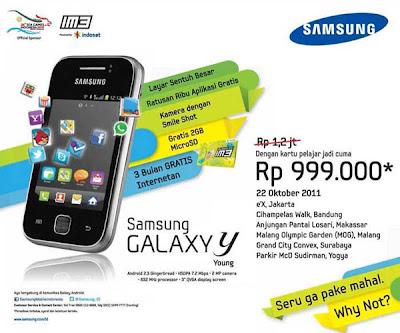 Harga Samsung Galaxy Y Rp 999 Ribu untuk Pelajar