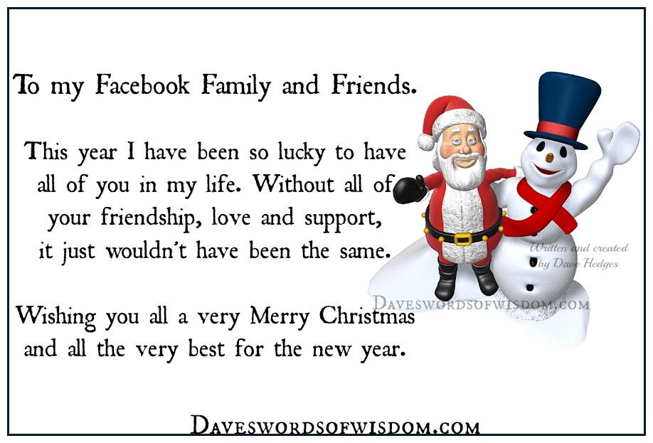 Daveswordsofwisdom.com: Merry Christmas my Facebook family & friends.