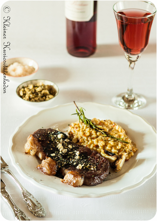 Balsamico-Steak mit Pinienrisotto