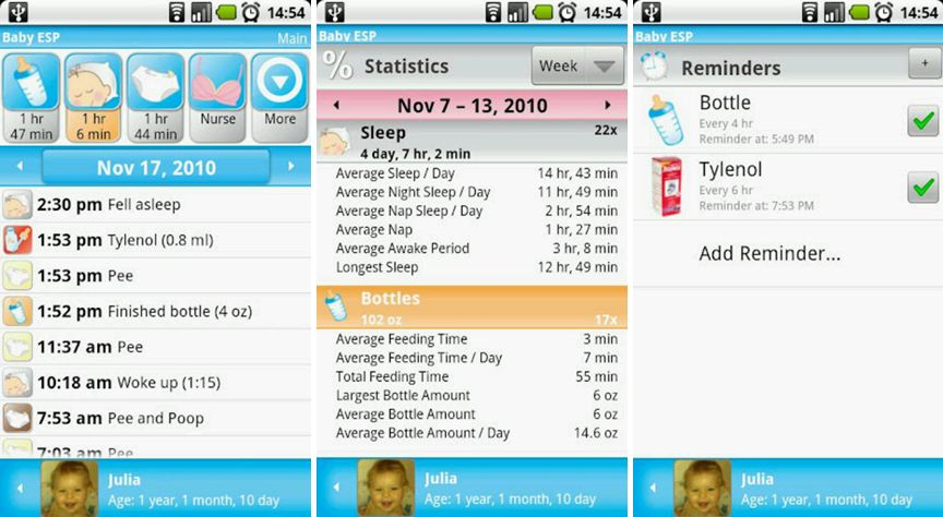 Baby ESP - baby tracking - Android phone app