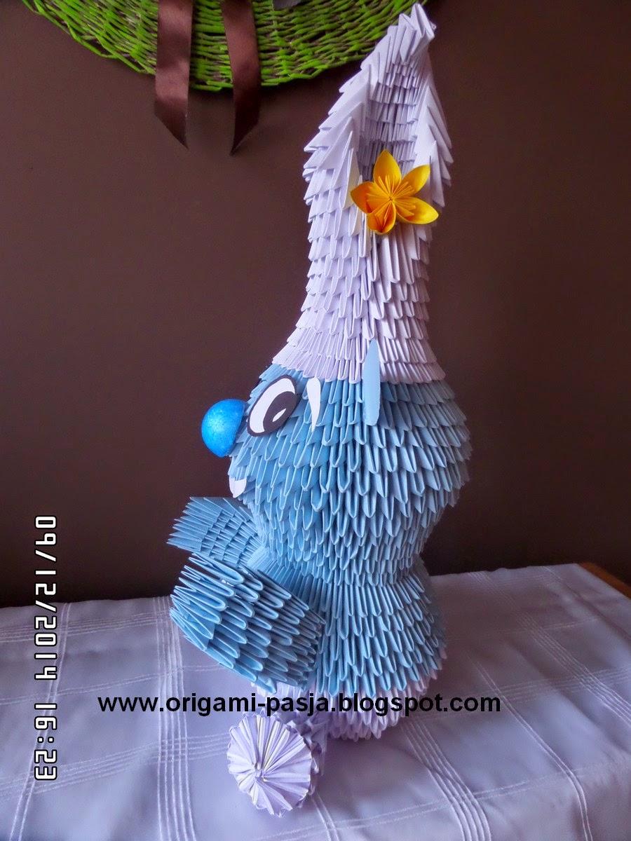 Smerfy - origami modułowe ( Papa Smerf, Ważniak i Laluś )