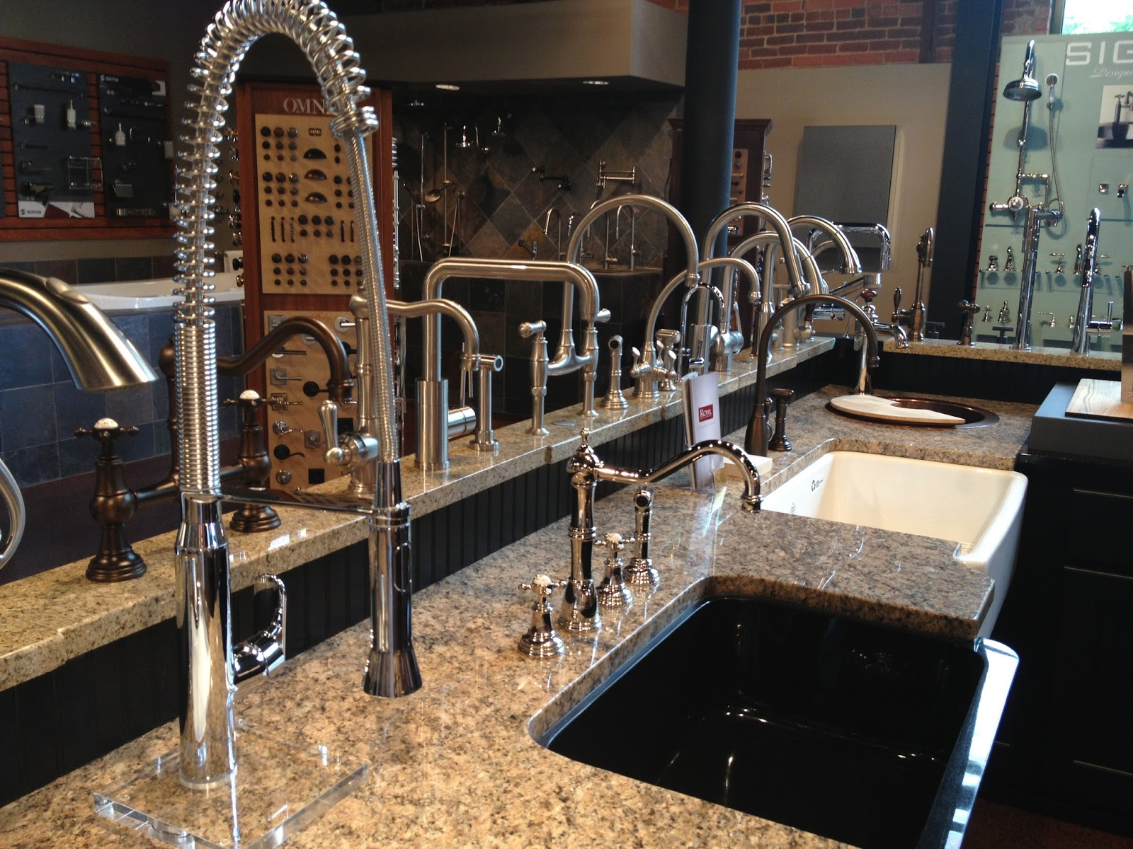 Beautiful display of sink hardware with assorted finishes