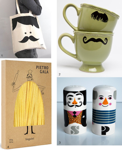 1. moustache tote bag 2. moustache kimay mugs 3. salt and pepper Ingela p arrhenius 4. pietro gala linguine
